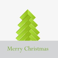 tree green stripes design origami Christmas card