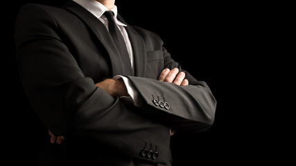 Confident Businessman Crossing Arms on Front Wall mural