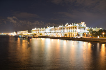 View of the Winter Palace at night from Neva