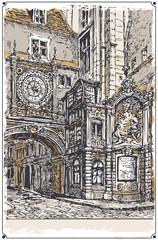 Vintage View of Horloge street, Rouen