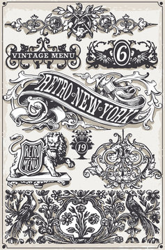 Vintage Page Hand Drawn Banners and Labels