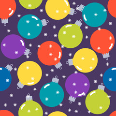 holiday bright colored pattern background with Christmas balls