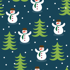 Funny winter holiday pattern background with snowman