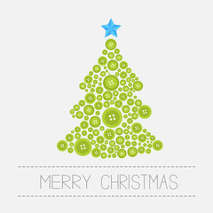 Christmas tree from green buttons. Merry Christmas Isolated Flat