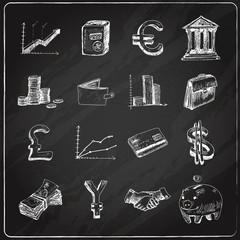 Finance icons set chalkboard