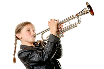 a pretty little girl with a black jacket plays the trumpet Wall mural