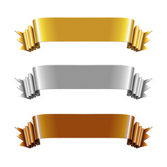 Set of Gold, Silver and Bronze Ribbons