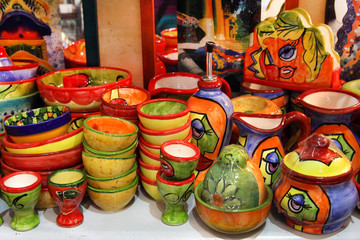 BARCELONA, SPAIN - JULY 8, 2014: Barcelona souvenirs at counter