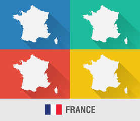 Wall Mural - France world map in flat style with 4 colors.