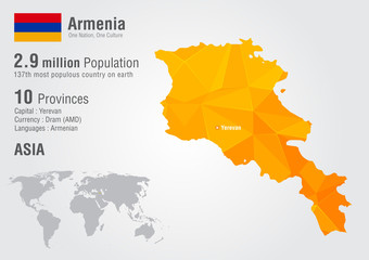 Wall Mural - Armenia world map with a pixel diamond texture.
