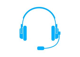 Blue headphones icon on white background