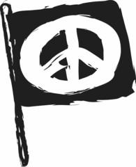 doodle hippie flag, peace sign
