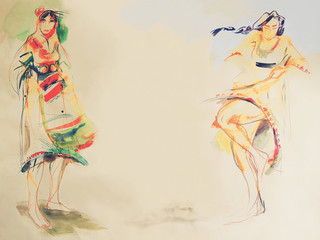 Drawing on paper of two Bulgarian folklore women