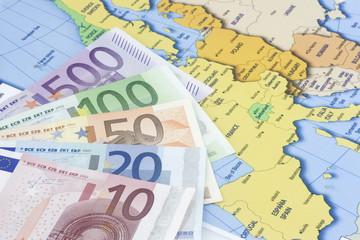 Euros at map of europe