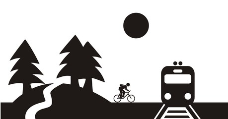 Landscape and train and cyclist