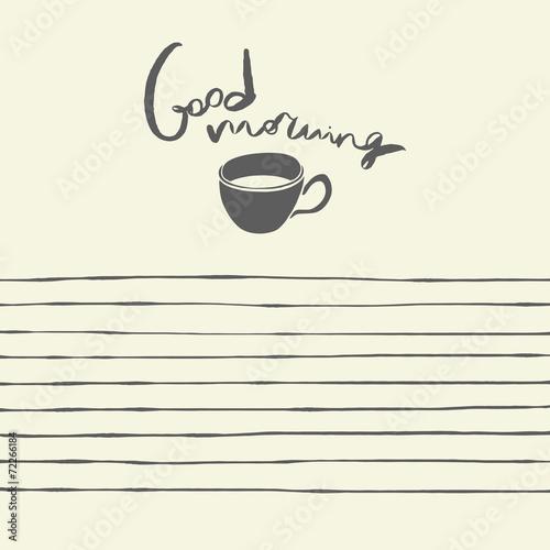 notepad template design good morning hand drawn illustration stock