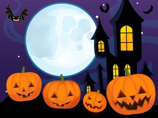Cartoon halloween scene with pumpkins family - illustration for children