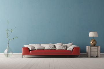 Rotes Sofa vor blauer Wand