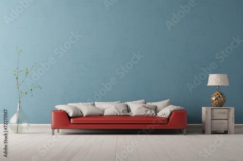 rotes sofa vor blauer wand stockfotos und lizenzfreie bilder auf bild 72270167. Black Bedroom Furniture Sets. Home Design Ideas