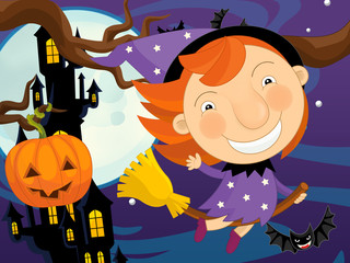 Cartoon funny scene with happy halloween character - lady sorceress - illustration for children
