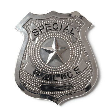 Police Badge with Clipping Path - Stock Photo