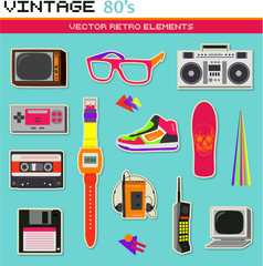 Vintage retro 80's vector elements