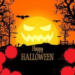 Vector halloween background with evil moon and bats