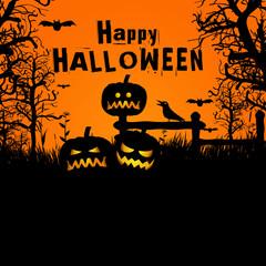 Vector halloween spooky yard with evil pumpkin lantern backgroun