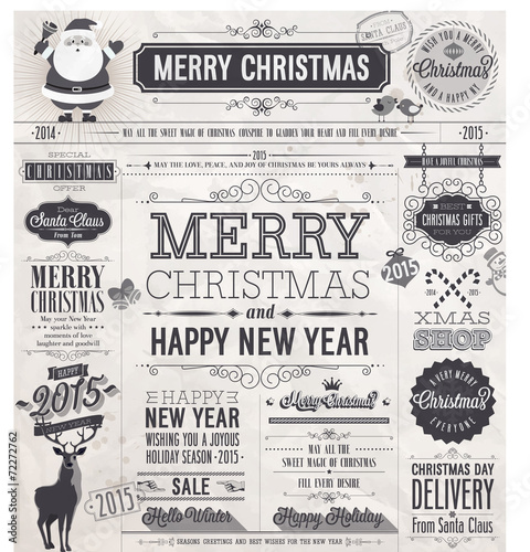 Wall mural Christmas set - labels, emblems and other decorative elements.