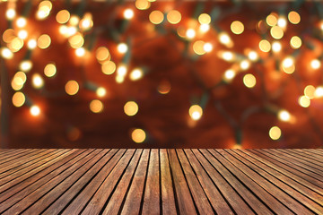 Christmas  background with empty wooden deck table