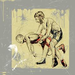 greco roman wrestling - hand drawn, grunge