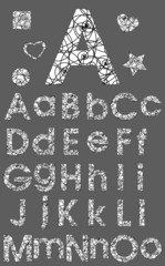 Alphabet Set, Black and White Ornament Swirl Vector