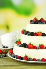 Beautiful wedding cake with berries