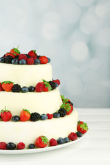 Beautiful wedding cake with berries