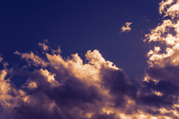 Colorful clouds on the sky. Color toned image.