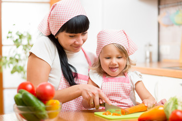 mom and child preparing healthy food at kitchen
