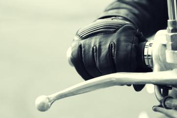 Hand rider on handlebars, close-up Fototapete