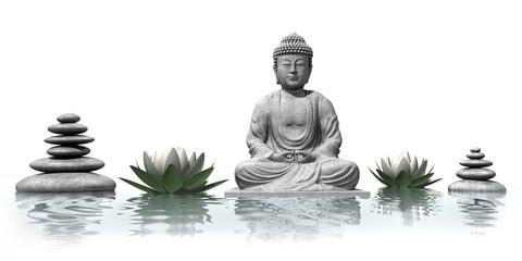 Wall Mural - Buddha mit Lotusblüten im Wasser