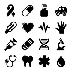 Medical and Health Icons Set.