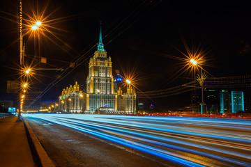 Гостиница Украина ночью. Москва