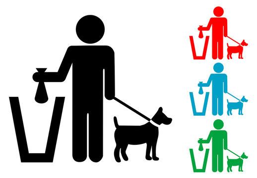 Pictograma papelera excremento canino con varios colores