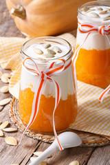 Cream of pumpkin with yogurt and seeds closeup