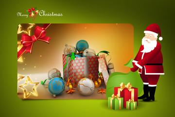 Christmas  gift box with santaclaus