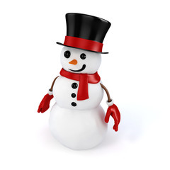 3d happy snowman on white background