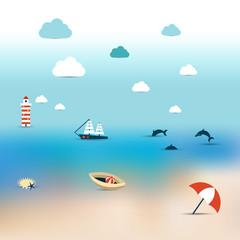 Summer illustration of sun beach.