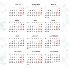 Simple 2015 calendar vector vertical