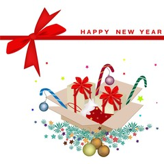 New Year Card with Christmas Ornament and Gift Boxes