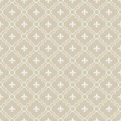Beige and White Fleur-De-Lis Pattern Textured Fabric Background