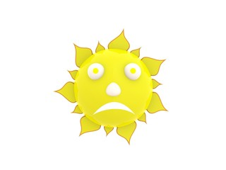 Weather sun symbol over white background 3d