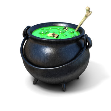 witches cauldron 3d illustration